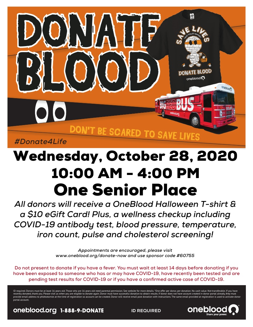 Donate Blood - OneBlood Big Red Bus