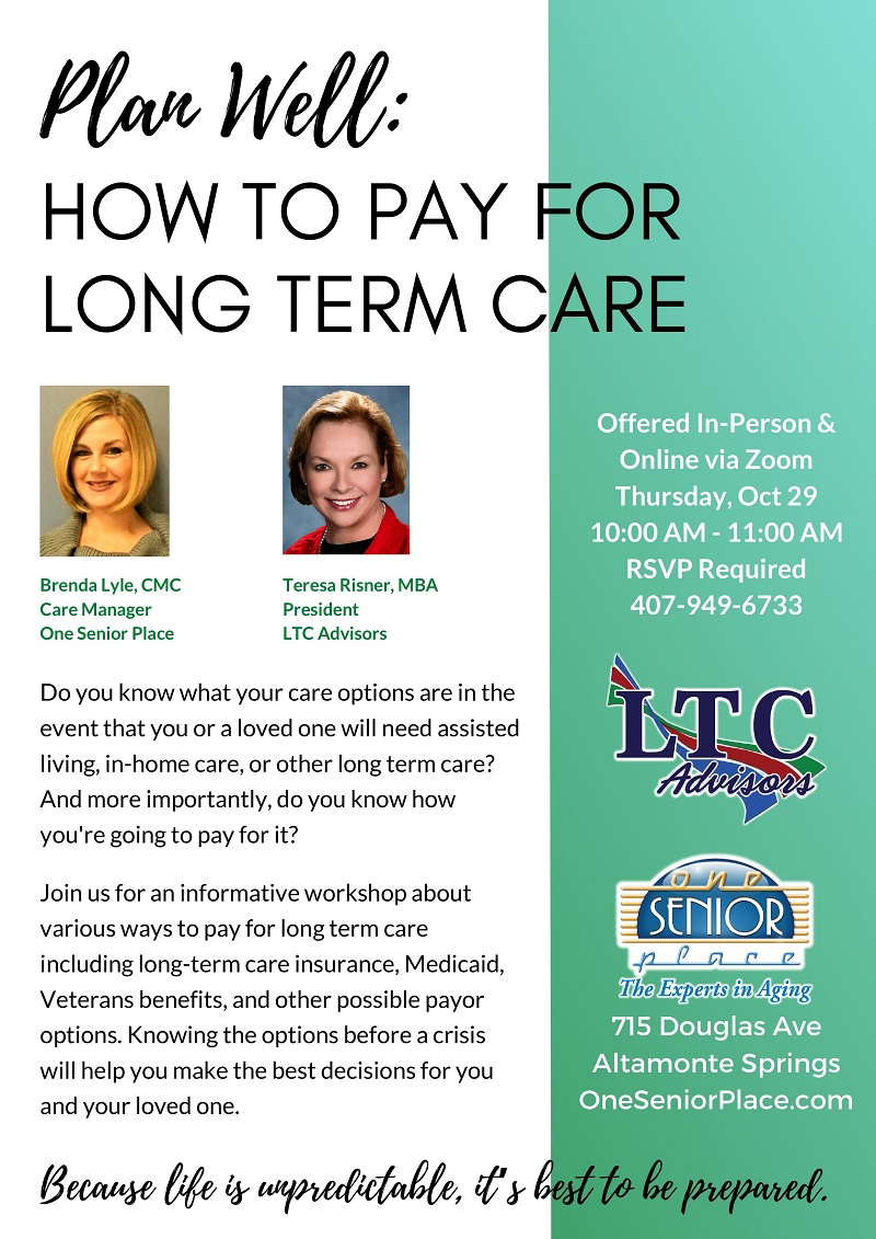 VIRTUAL & IN-PERSON - Plan Well: How to Pay for Long Term Care