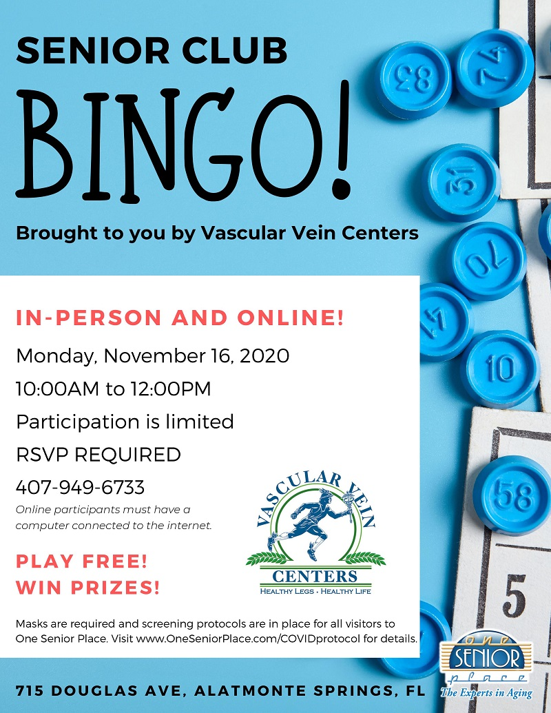 VIRTUAL & IN-PERSON: BINGO! with Vascular Vein Centers