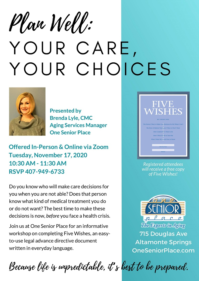 VIRTUAL & IN-PERSON - Plan Well: Your Care, Your Choices
