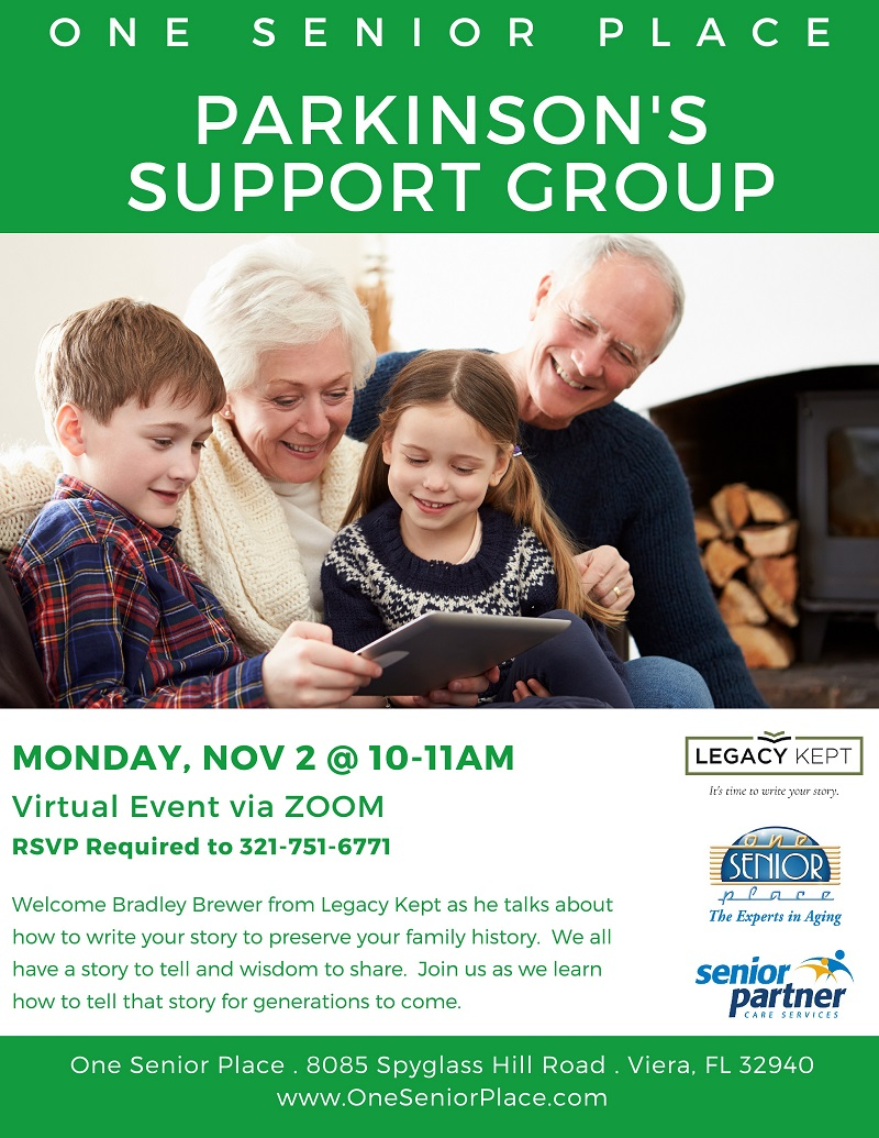 VIRTUAL:  Legacy Kept, Zoom Meeting, Parkinson's Support Group of Viera
