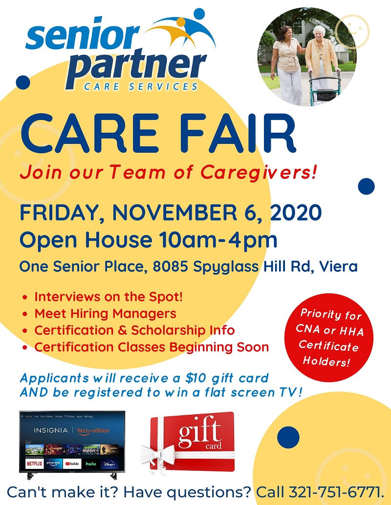 Care Fair, Join our Team of Caregivers! sponsored by Senior Partner Care Services