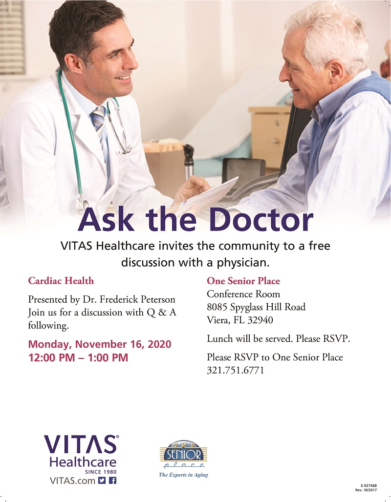 Cardiac Health 'Ask the Doctor' Lunch and Learn Seminar and ZOOM Meeting presented by VITAS Healthcare
