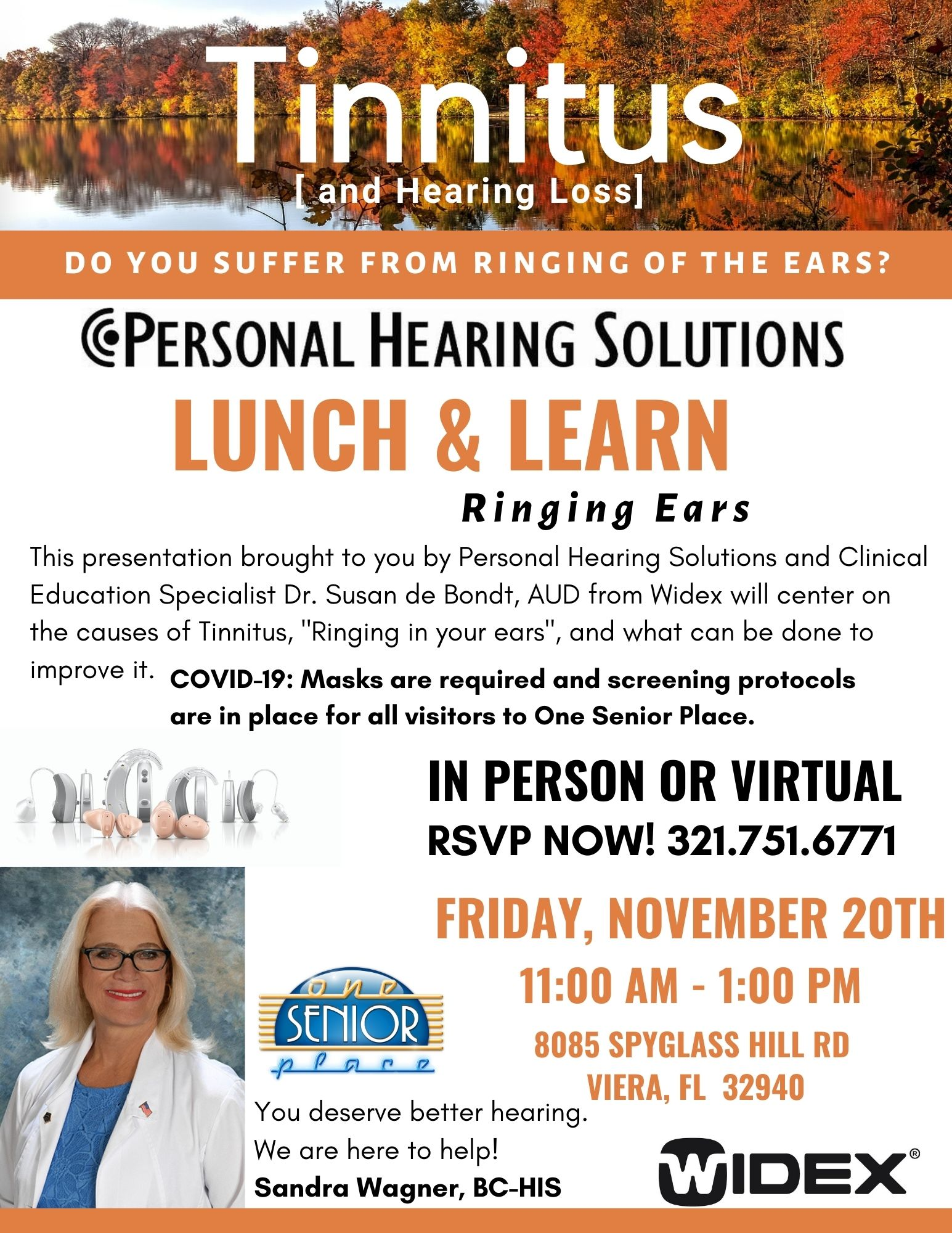 Tinnitus [and Hearing Loss] Lunch and Learn Seminar, In-person and Virtual presented by Personal Hearing Solutions