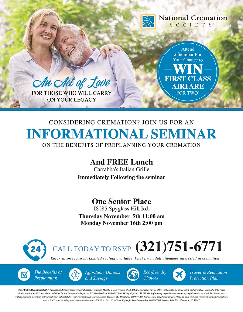 Considering Cremation?, Join us for a Lunch & Learn Seminar presented by National Cremation Society