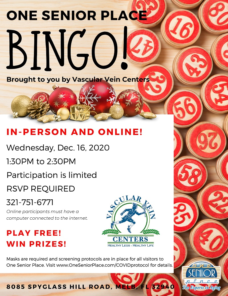 BINGO brought to you by Vascular Vein Centers, IN-PERSON & VIRTUAL