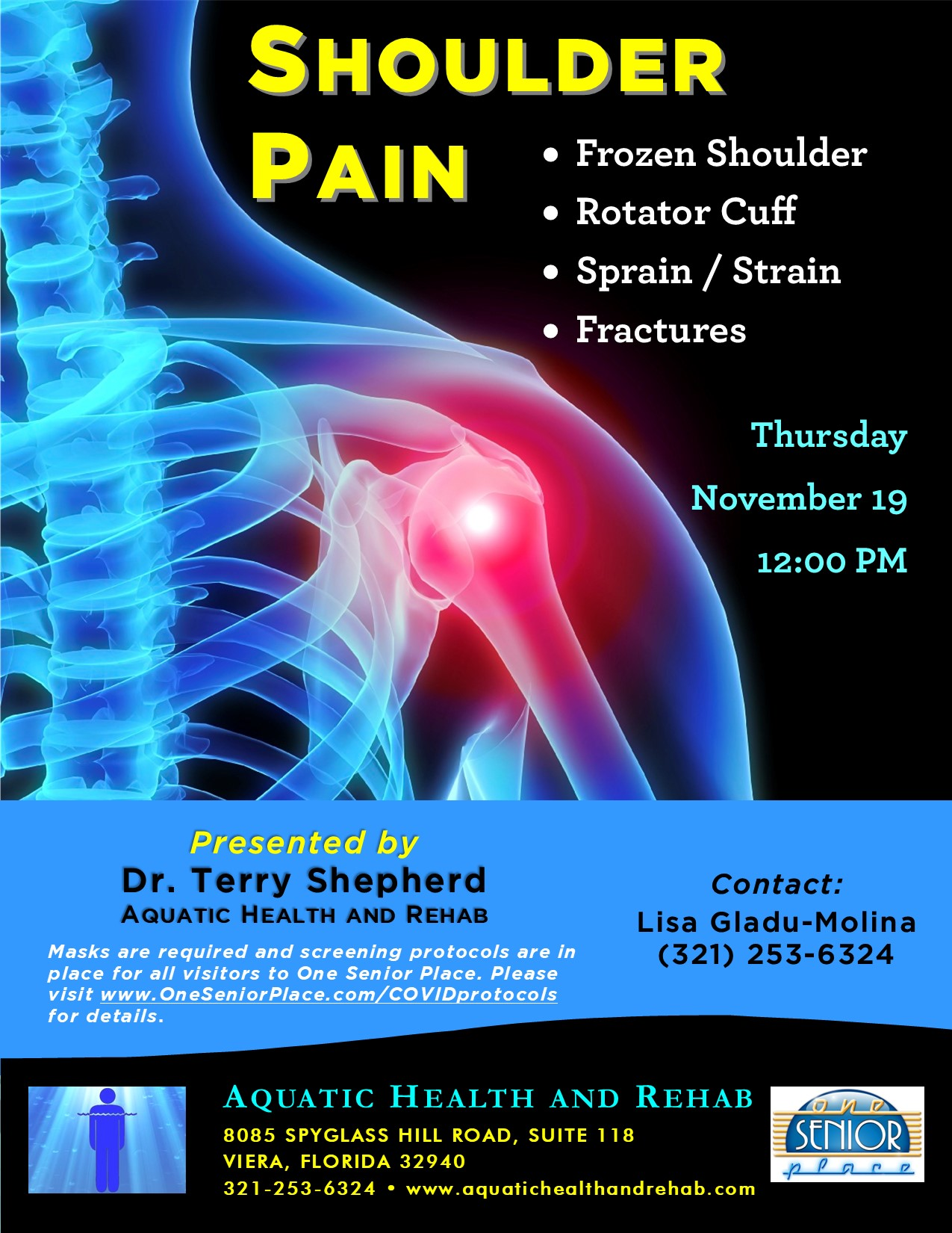 Shoulder Pain presented by Aquatic Health and Rehab