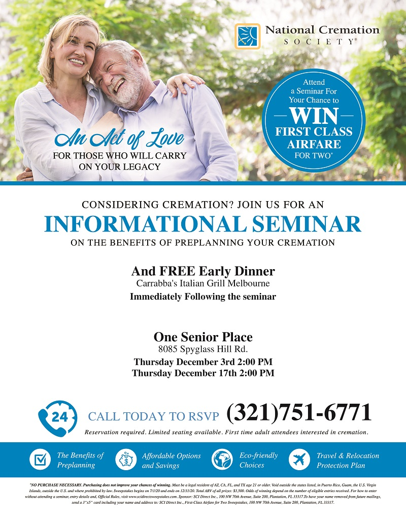 Considering Cremation?, Pre-Planning Workshop with Early Dinner following Seminar presented by National Cremation Society