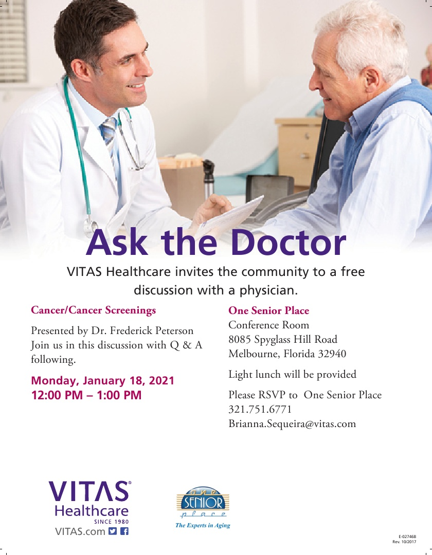 Cancer/Cancer Screenings - Ask the Doctor Lunch & Learn hosted by VITAS Healthcare