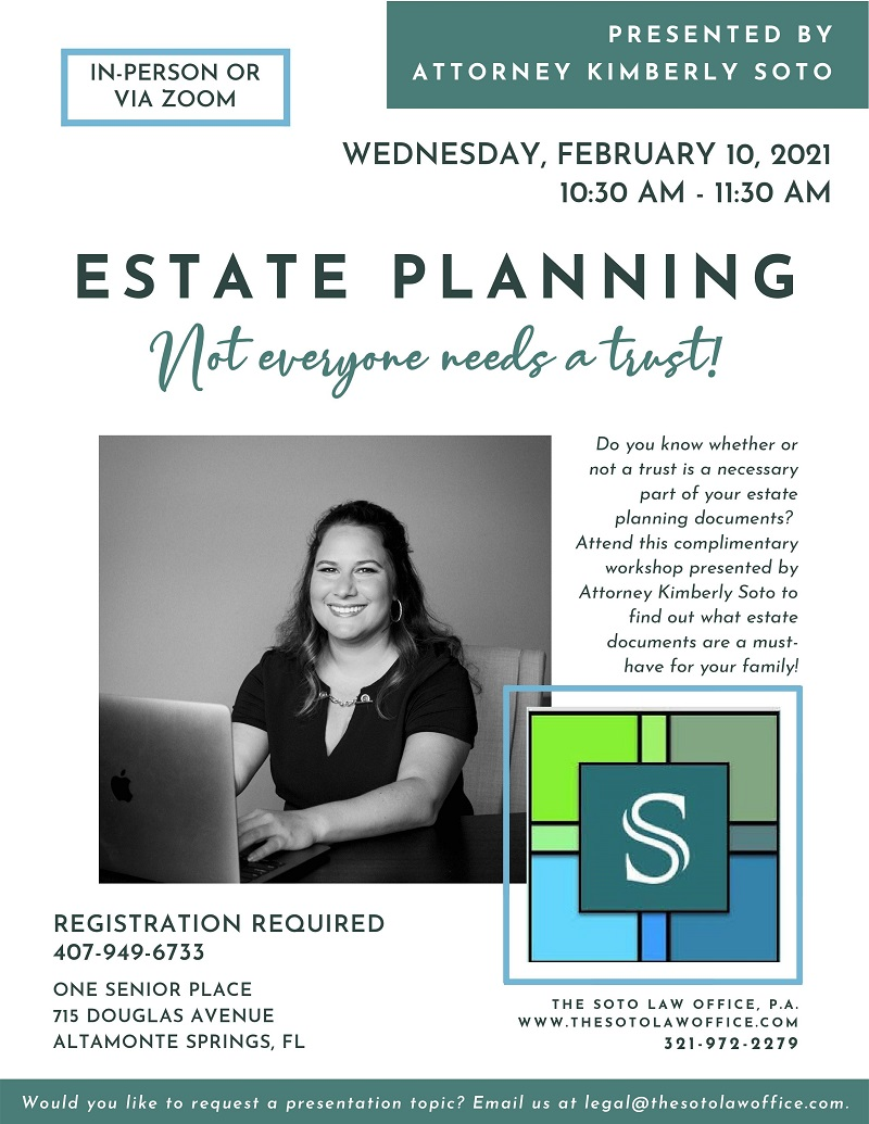 IN-PERSON OR VIRTUAL: Estate Planning