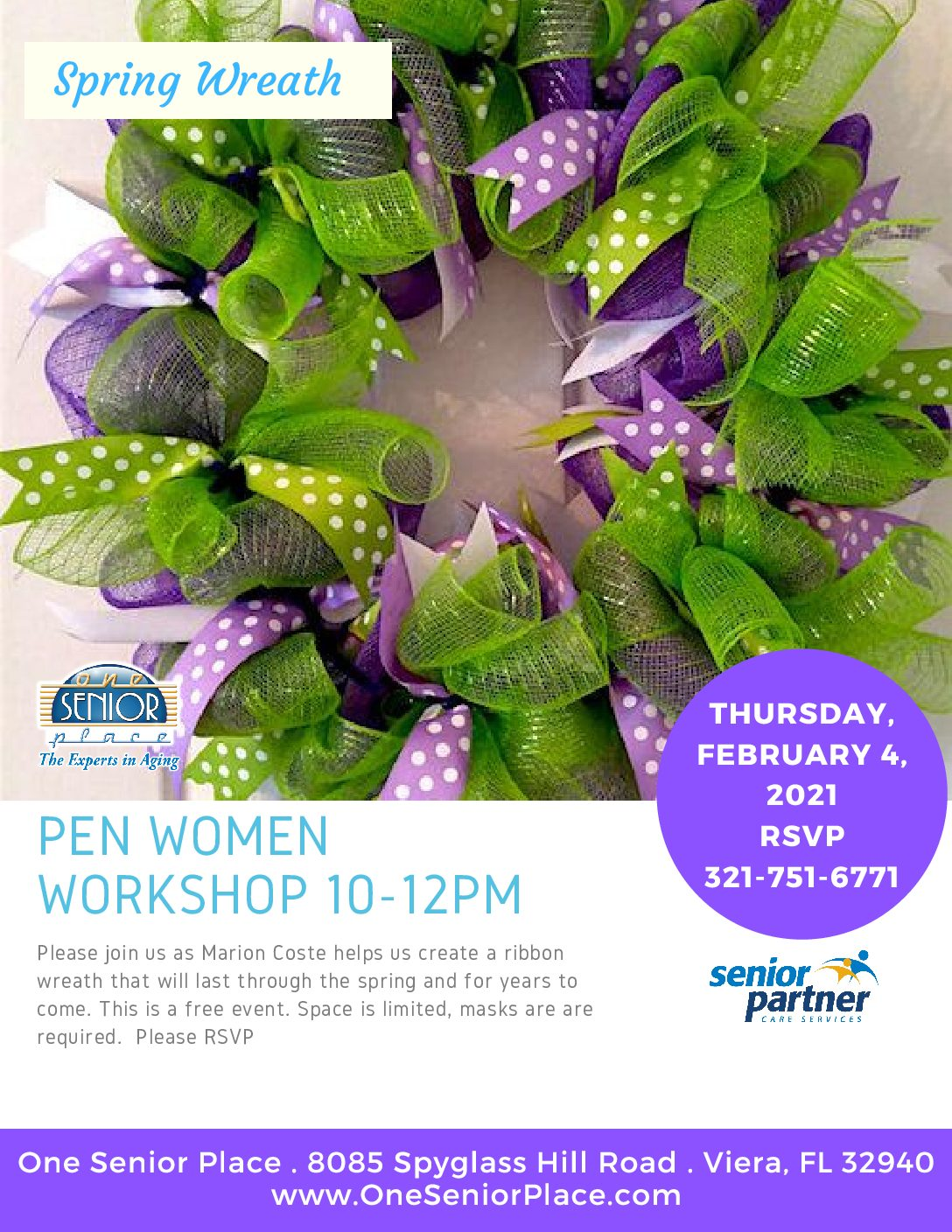 Wreath Making Event, One Senior Place and Cape Canaveral Women's Pen Group