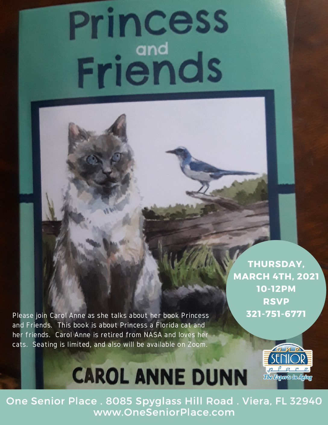 Princess and Friends presented by Author Carol Anne Dunn with the Cape Canaveral Pen Women's Group and One Senior Place