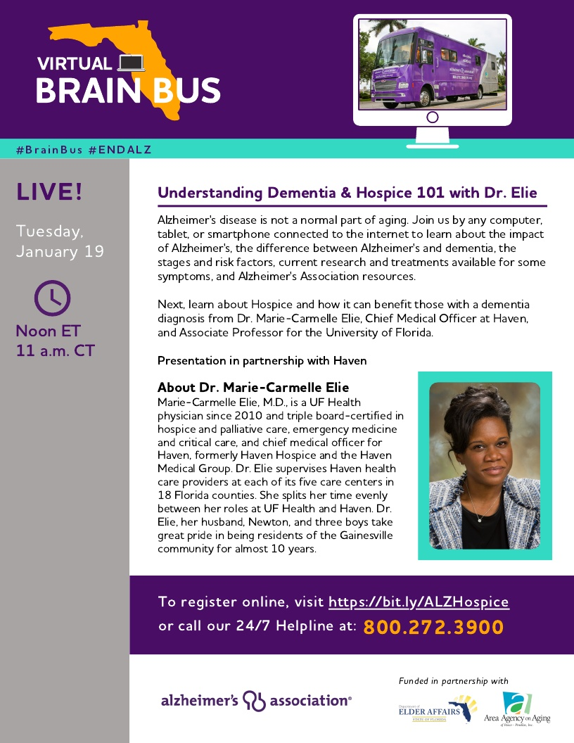 Virtual Brain Bus - Understanding Dementia & Hospice 101 with Dr. Elie