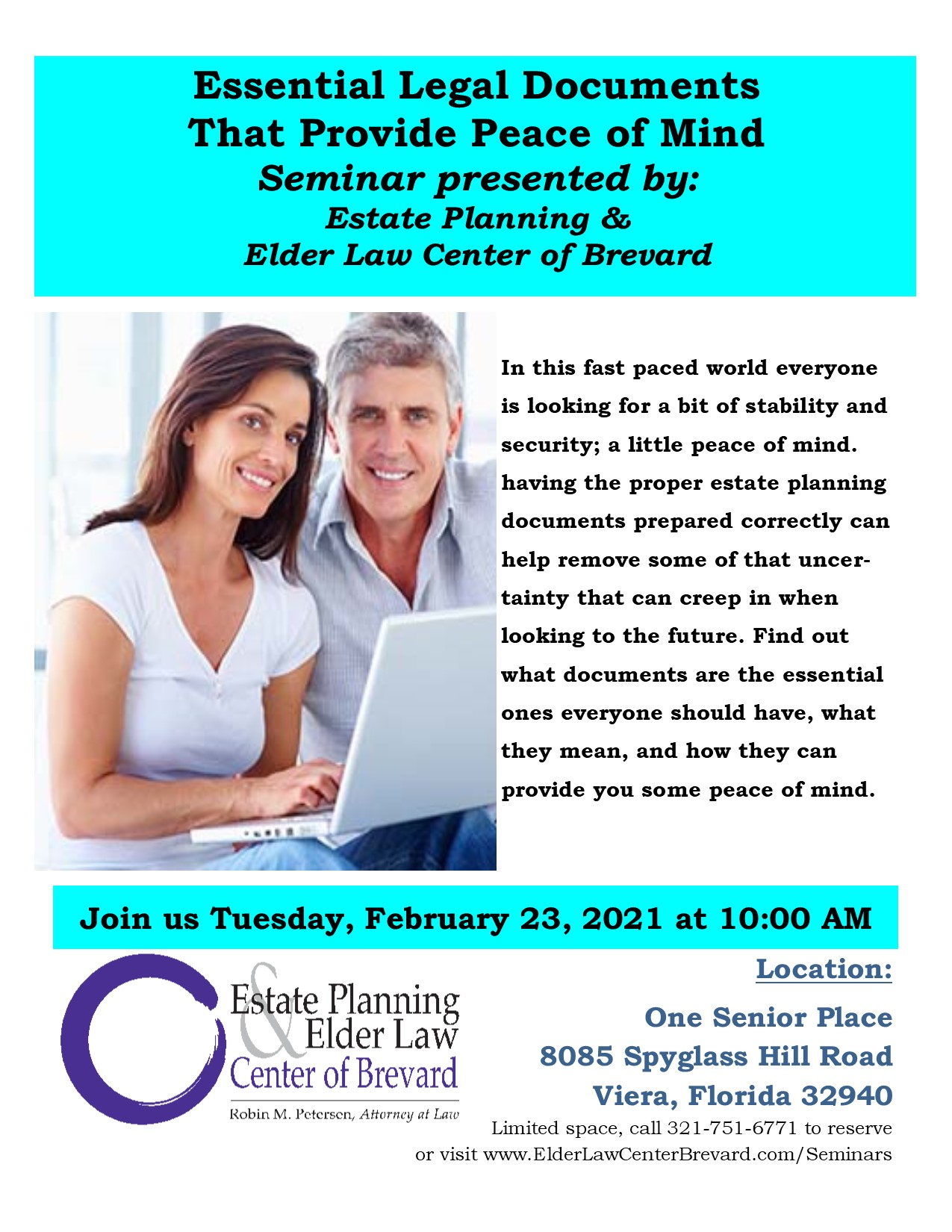 Essential Legal Documents That Provide Peace of Mind presented by Estate Planning and Elder Law Center of Brevard