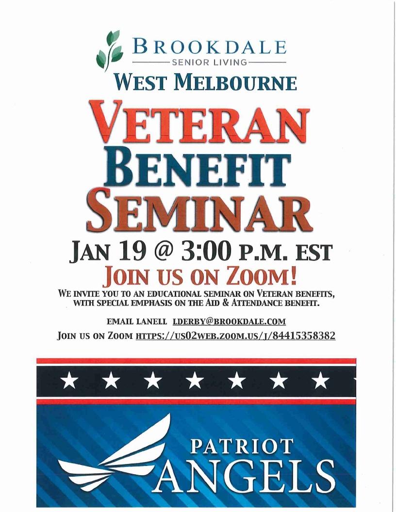 Veteran Benefit Seminar (Zoom) - Brookdale Senior Living West Melbourne