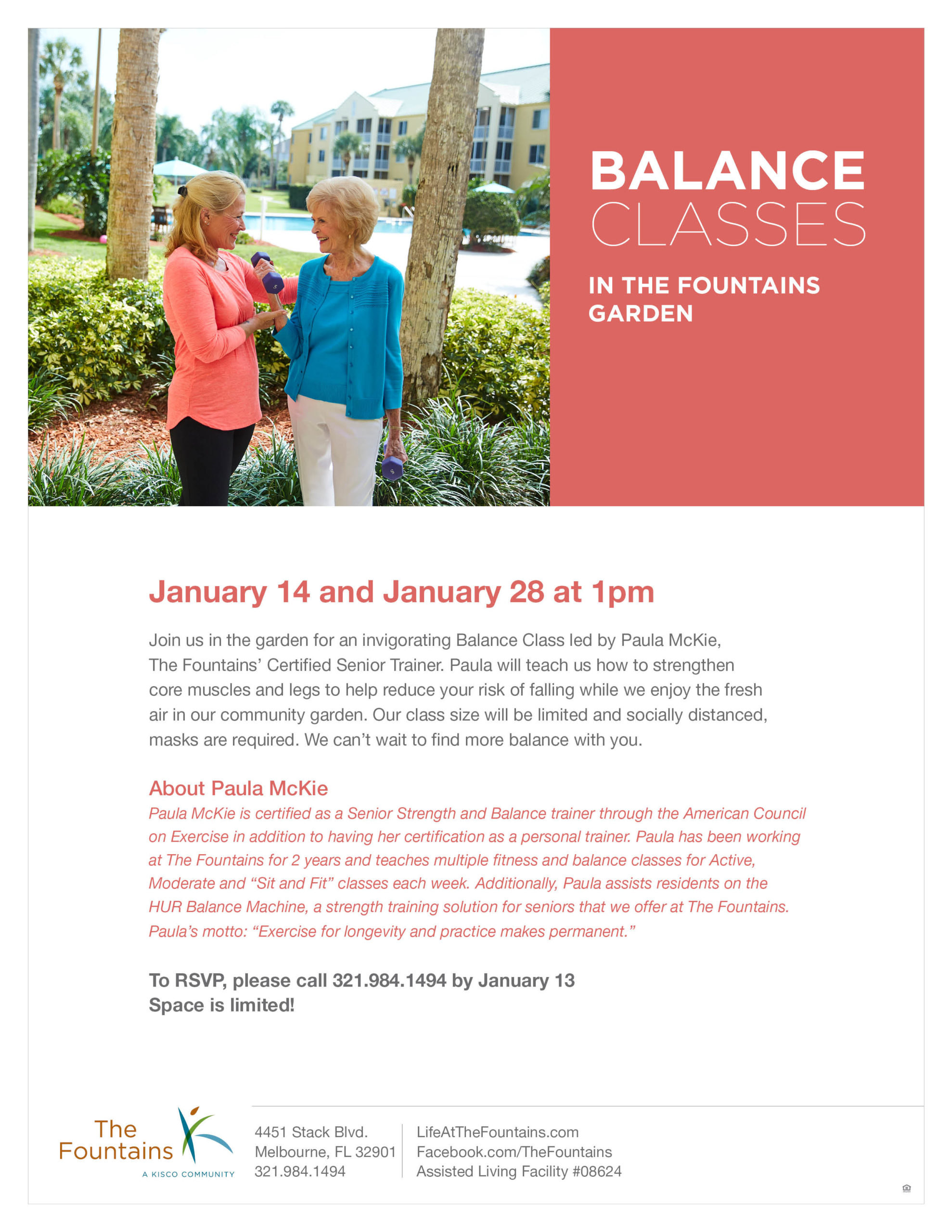 Balance Classes in The Fountains Garden