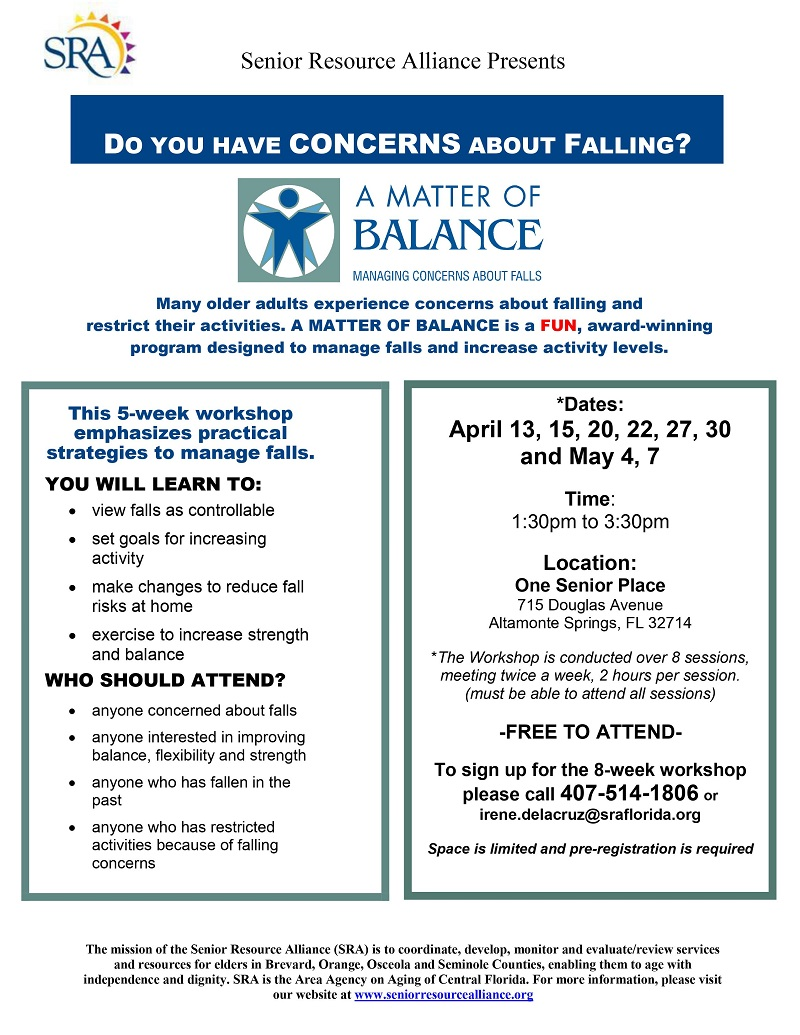 IN-PERSON: A Matter of Balance 8-Week Workshop