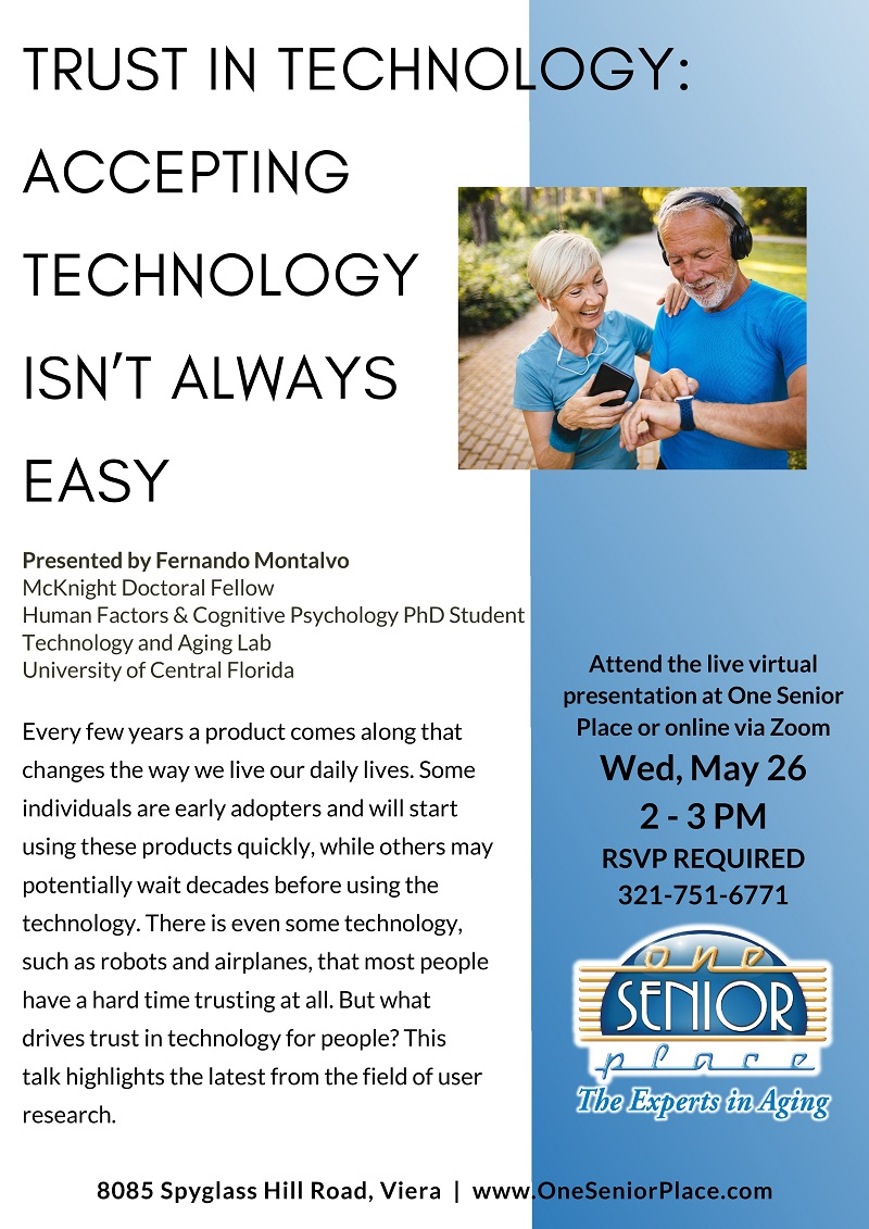 VIRTUAL & IN-PERSON: Trust in Technology - Accepting Technology Isn't Always Easy, presented by Fernando Montalvo
