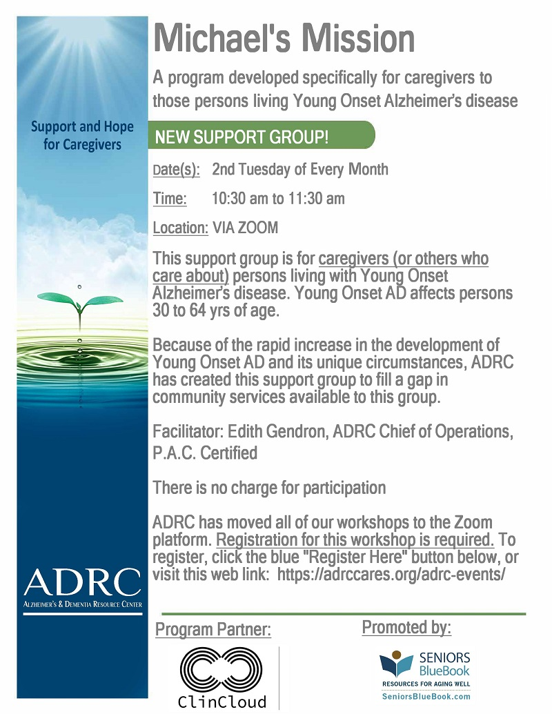 VIRTUAL: Michael's Mission - ADRC Support Group
