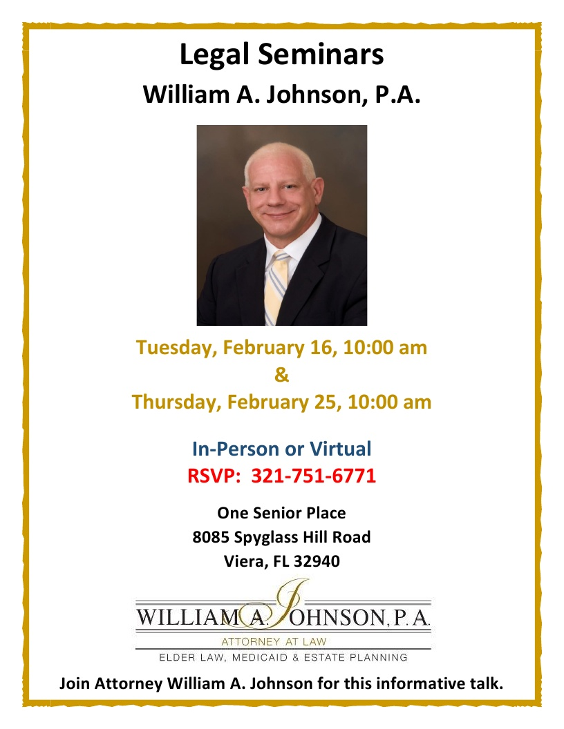 * CANCELLED * Legal Seminar presented by William A. Johnson, P.A.