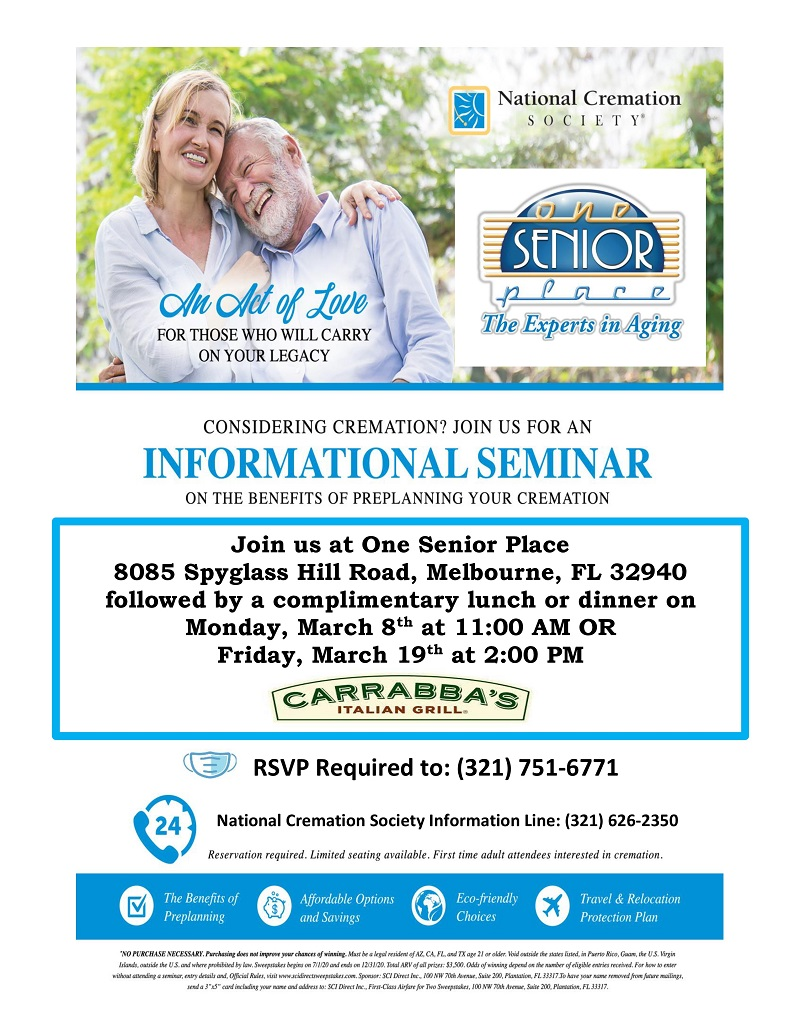 Considering Cremation? Informational Seminar, FREE Lunch immediately following presented by National Cremation Society