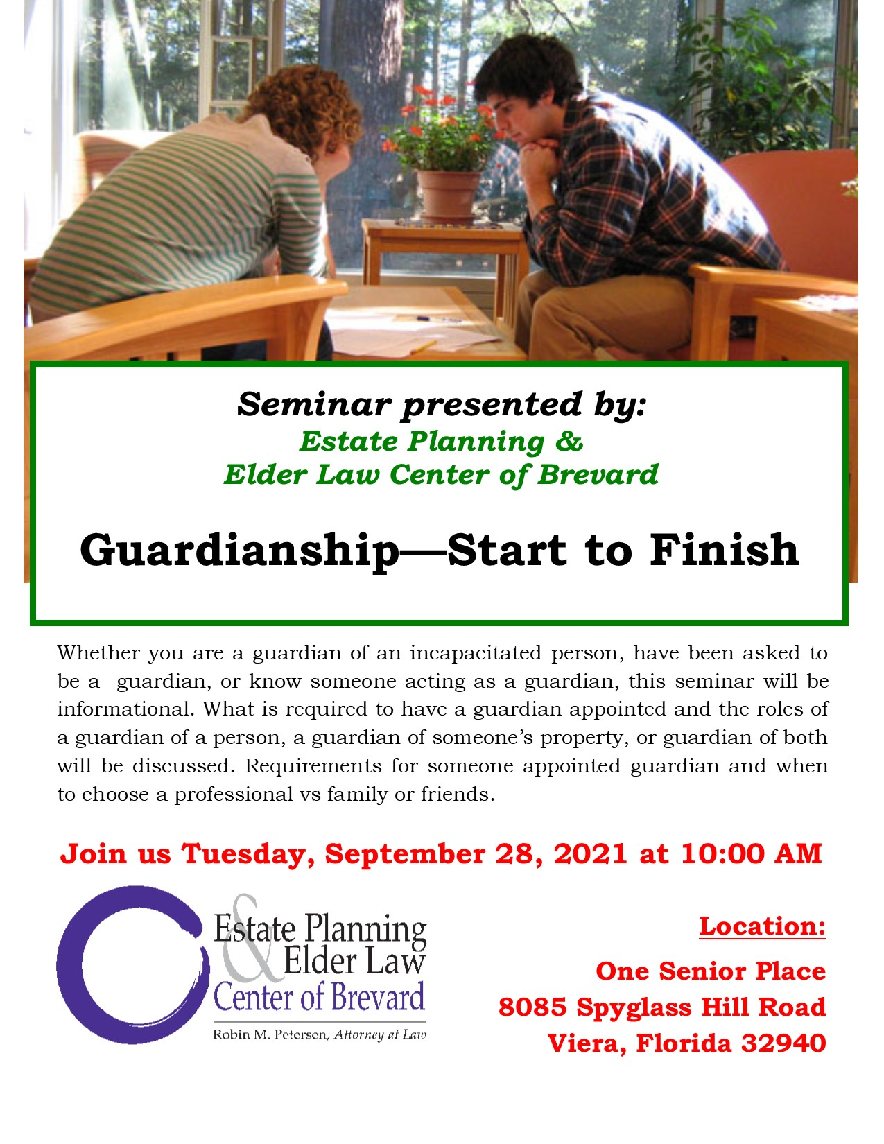 Guardianship - Start to Finish, presented by Estate Planning and Elder Law Center of Brevard
