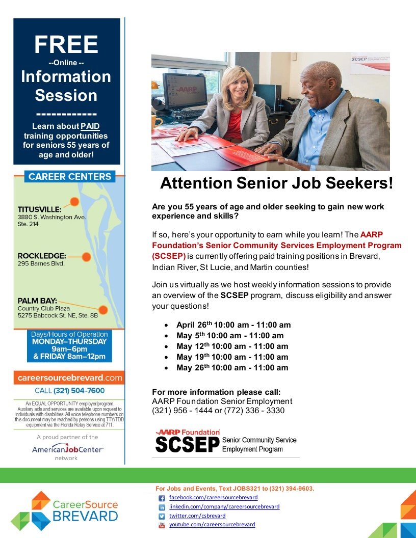 Attention Senior Job Seekers! FREE Online Information Session