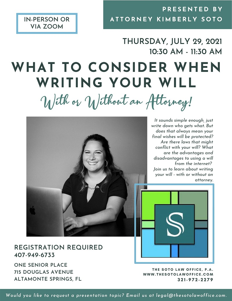 IN-PERSON & VIRTUAL: What to Consider When Writing Your Will - With or Without an Attorney!