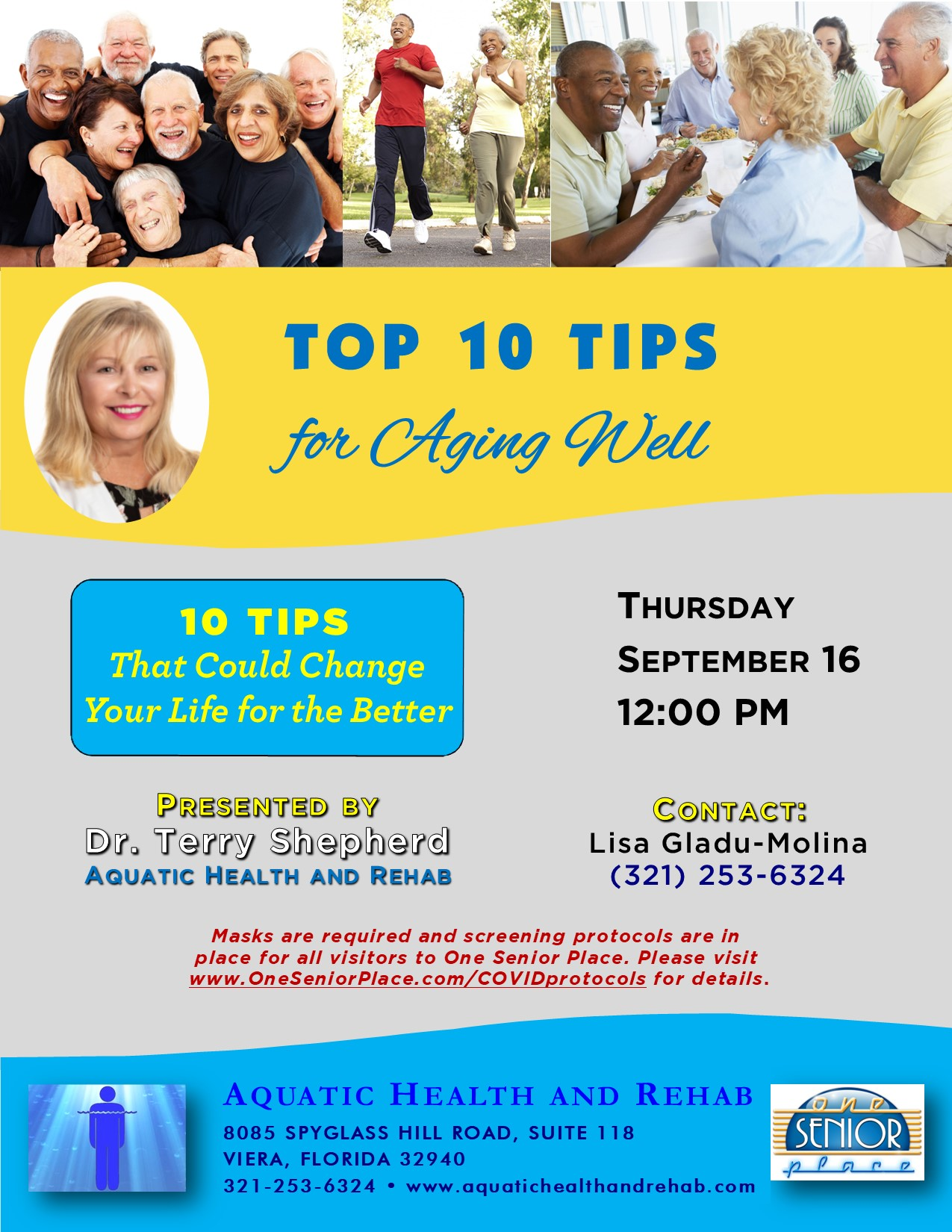 Top 10 Tips for Aging Well presented by Aquatic Health and Rehab