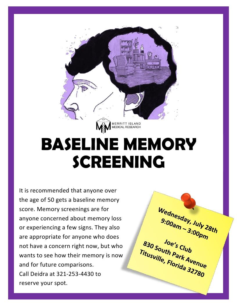 Baseline Memory Screening at Joe's Club in Titusville - Merritt Island Medical Research