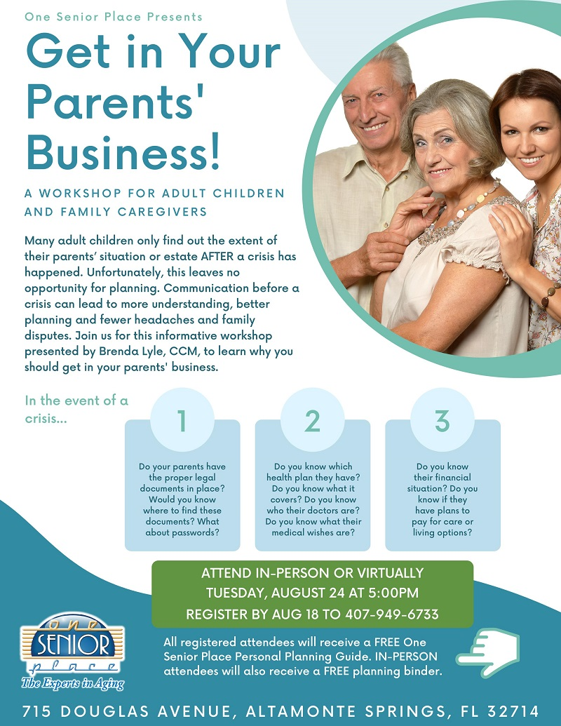IN-PERSON & VIRTUAL: Get in Your Parents' Business