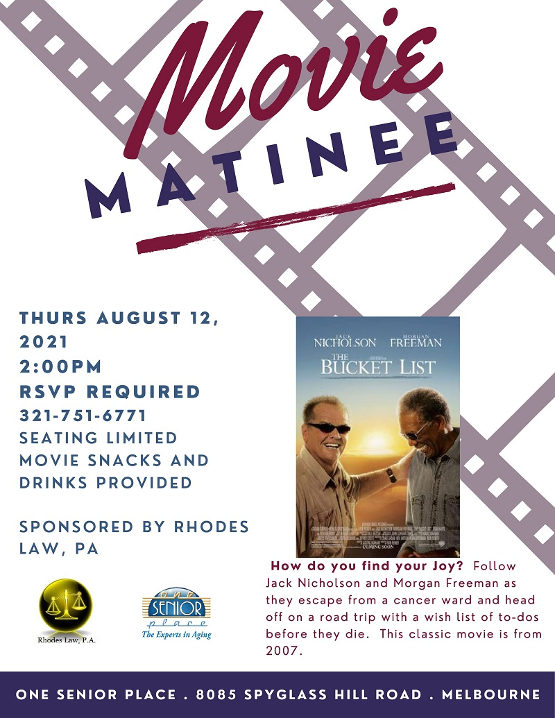 Movie Matinee: 'The Bucket List' sponsored by Rhodes Law, PA