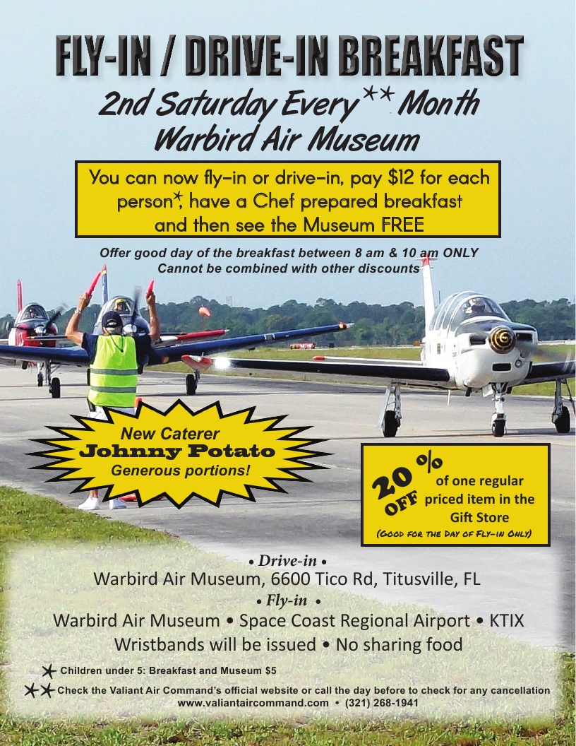 Fly-In/Drive-In Breakfast 2nd Saturday Every Month - Warbird Air Museum