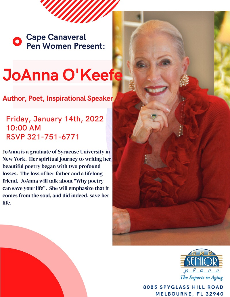 JoAnna O'Keefe, Author, Poet, Inspirational Speaker presented by the Cape Canaveral Pen Women's Group