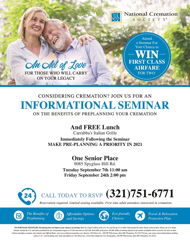 Considering Cremation? Informational Seminar, FREE Early Dinner immediately following presented by National Cremation Society