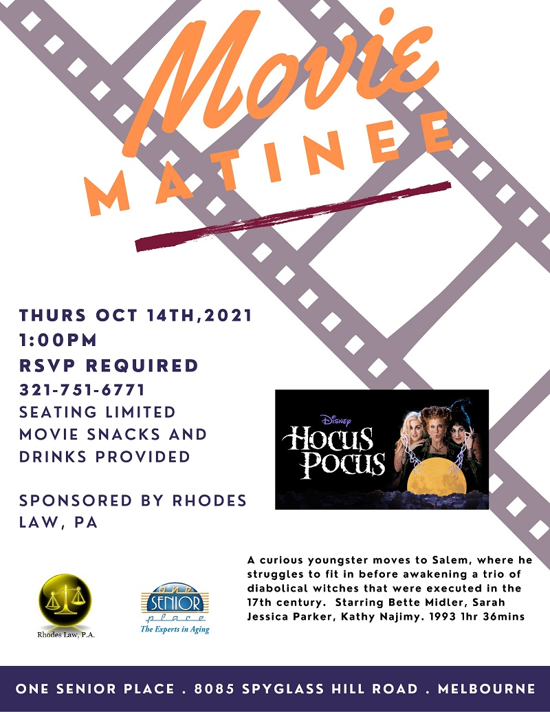 Movie Matinee: 'Hocus Pocus' sponsored by Rhodes Law, PA