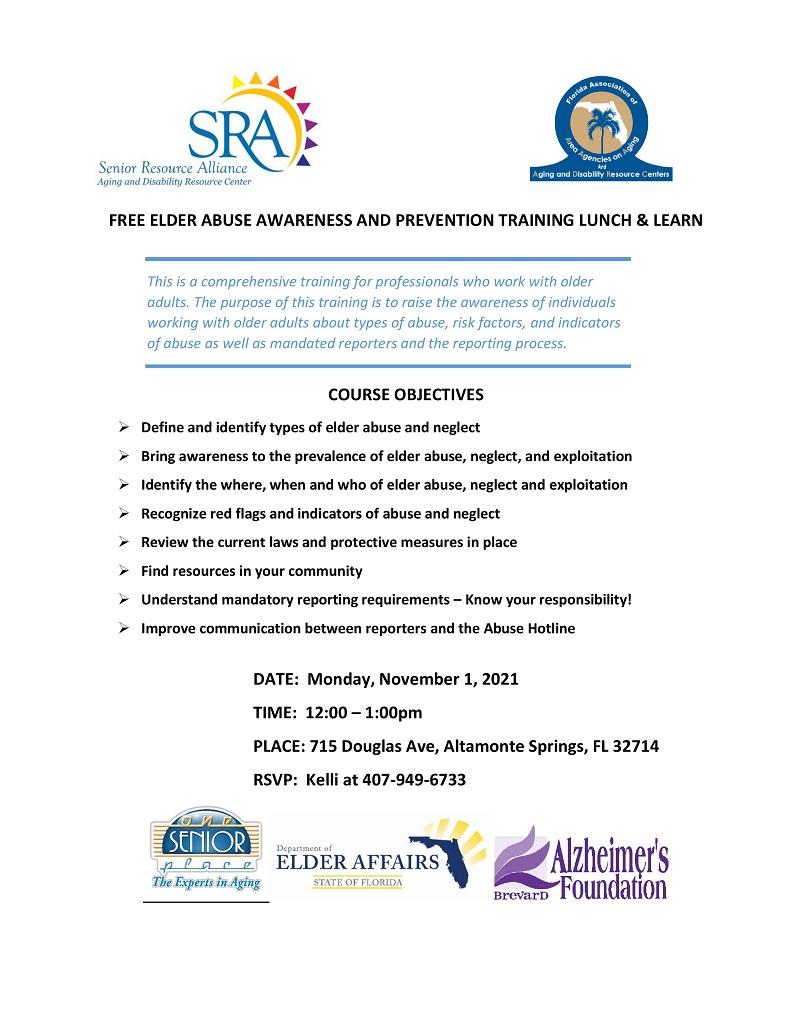 FREE Elder Abuse Awareness & Prevention Training Lunch & Learn