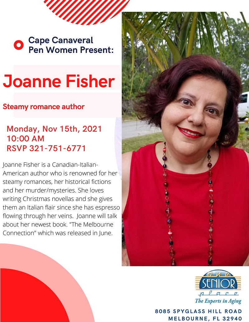 Joanne Fisher, Steamy romance author presented by the Cape Canaveral Pen Women's Group