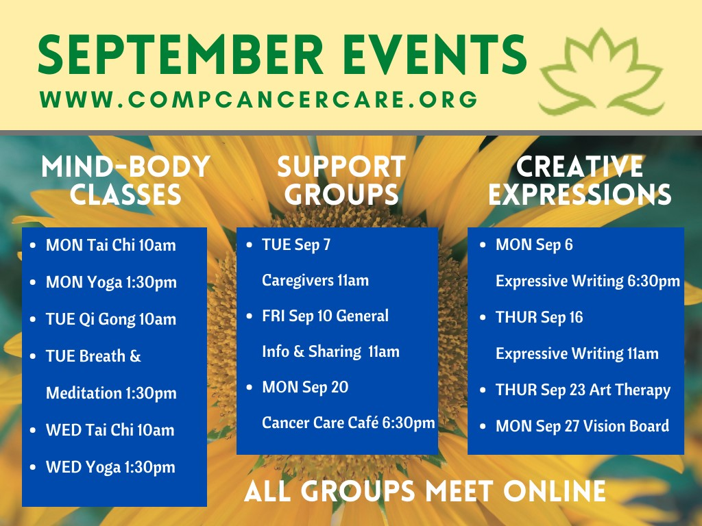VIRTUAL:  Activities and Workshops offered by Complementary Cancer Care