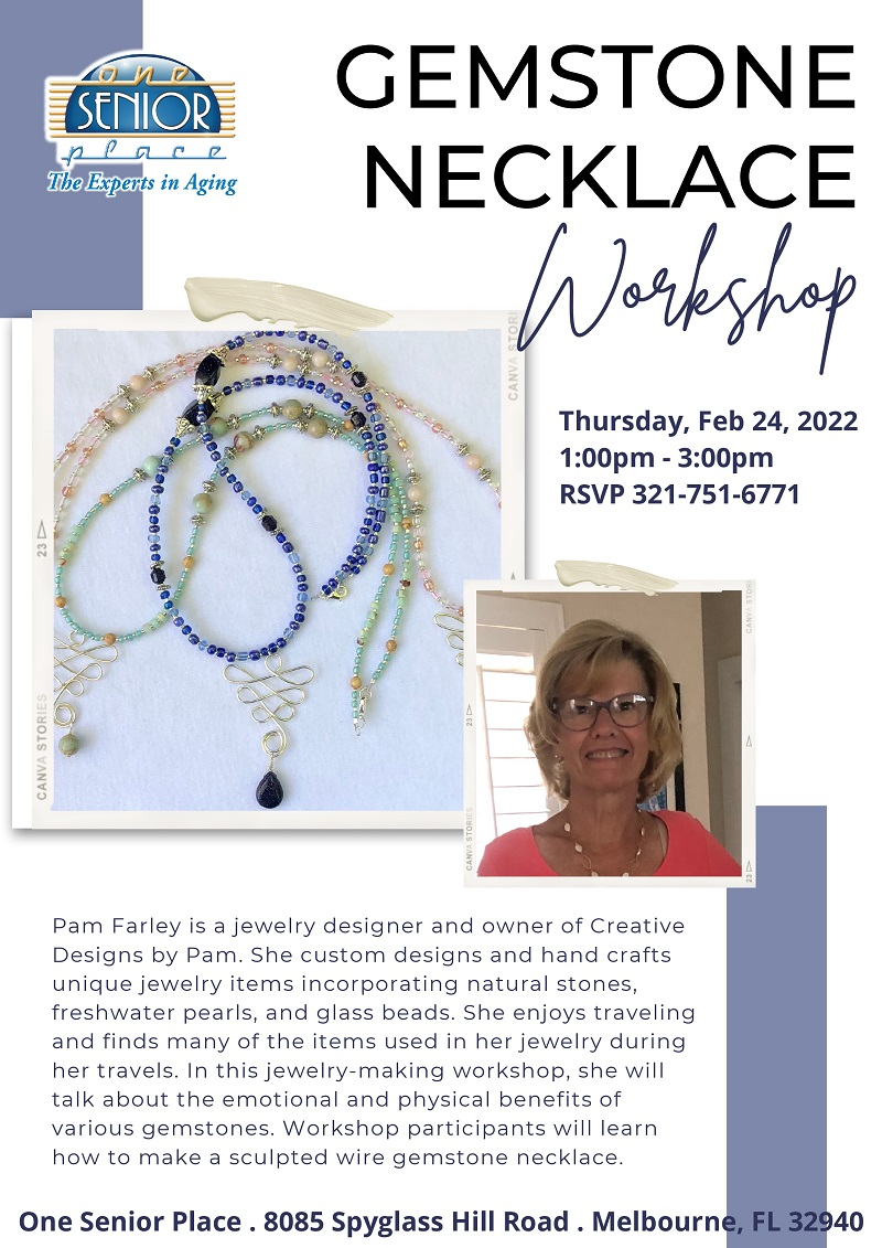 Gemstone Necklace Workshop, Pam Farley and Cape Canaveral Women's Pen Group