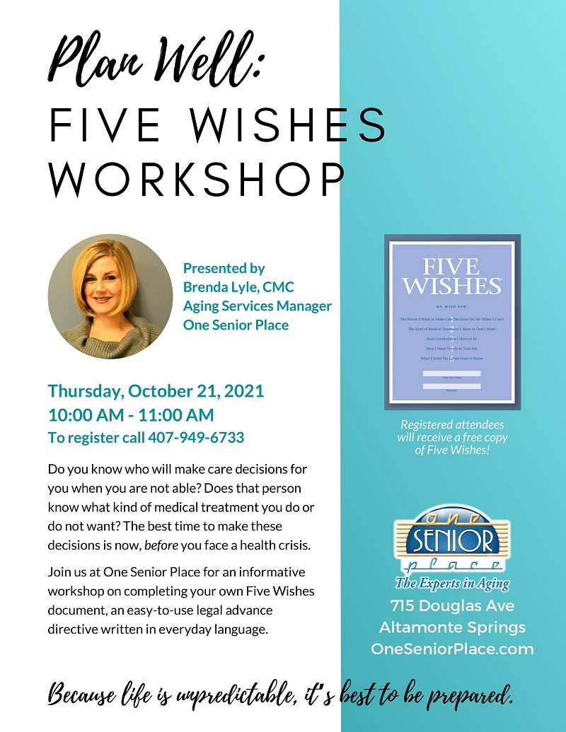 Plan Well: Five Wishes Workshop
