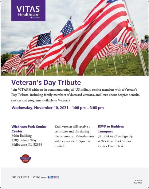 Join VITAS Healthcare for a Veteran's Day Tribute at Wickham Park Senior Center