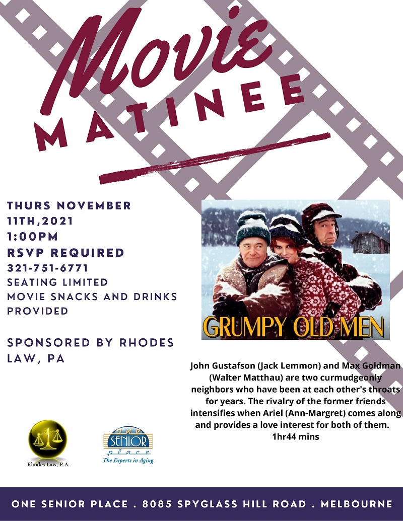 Movie Matinee: 'Grumpy Old Men' sponsored by Rhodes Law, PA