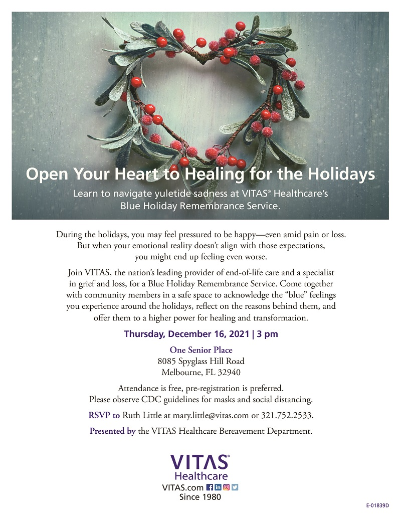 Open Your Heart to Healing for the Holidays hosted by VITAS Healthcare