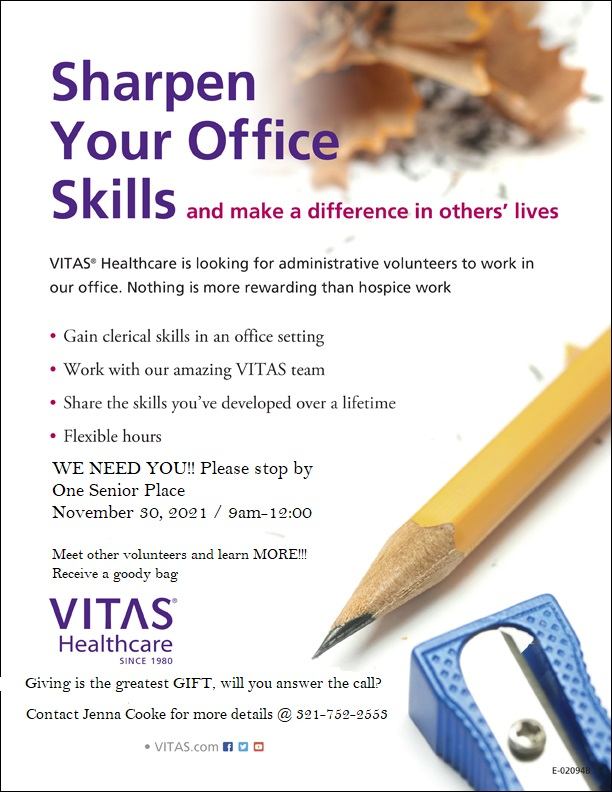 Sharpen Your Office Skills and make a difference in other's lives, hosted by VITAS Healthcare