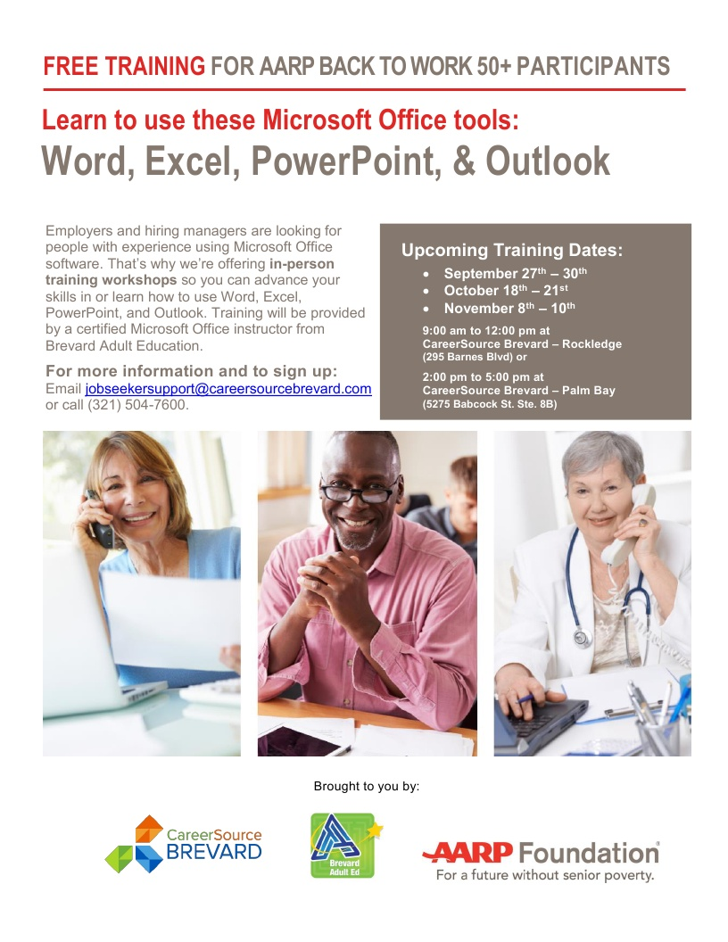 FREE Training for AARP Back to Work 50+ Participants at CareerSource Brevard